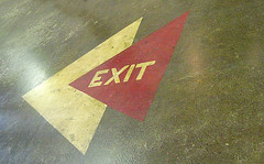 Exit sign arrows, Creative Arts Building, MN State Fair