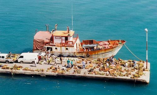 Aruba - Ship Unloading Produce