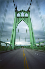 The Majestic, 8 seconds (Zeb Andrews) Tags: bridge urban color green film architecture oregon portland moody cityscape gothic pinhole pacificnorthwest pdx suspensionbridge phew openings zeroimage workshops classes sjb stjohnsbridge pinscape zero69 bluemooncamera zebandrewsphotography galleryshowings