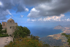 Mount Cofano and the Gulf of Bonagia, Sicily (**Anik Messier**) Tags: sea italy panorama seascape gulf view aerialview pointofview sicily belvedere mediterraneansea erice custonaci golfodibonagia mountcofano gulfofbonagia