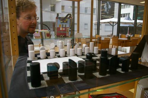Походные шахматы (похоже, вырубленные топором) на вязаной доске. 250 Евро.