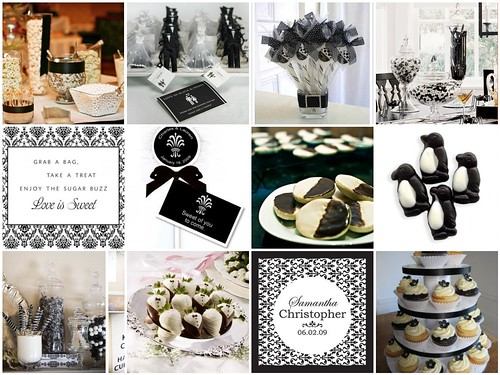 Elegant Black & White Wedding Candy Buffet por soo12.