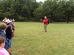 Mr Holtzberger in his element: Teaching geology at outdoor school at Camp Classen