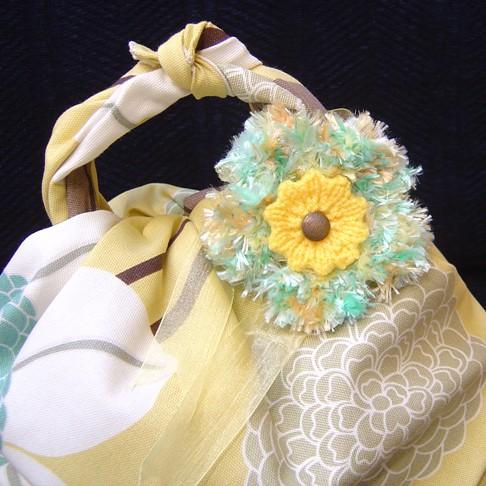 blue yellow furoshiki & flower