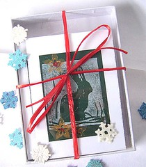 Snow Hare Cards/hand pulled print (sixsisters) Tags: snowflake snow bunny art print cards hare vast bbest