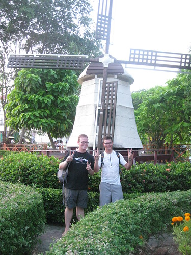 All smiles in front of the concrete windmill