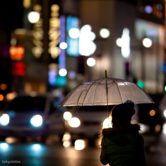 another rainy night in Ginza-2 (tokyololas) Tags: street people urban japan night lights tokyo bokeh candid    umbrellas  135l
