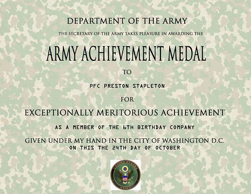 army achievement certificate