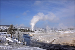 Winter in Yellowstone (Sandra OTR) Tags: park old winter vacation white snow cold ice nature landscape interior steam national yellowstone geyser february faithful