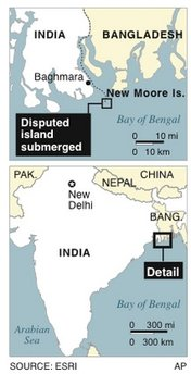 Map locates New Moore Island which was disputed by India and Bangladesh and is now sunken into the Bay of Bengal
