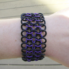 Purple and Black Rubber Chainmaille Bracelet
