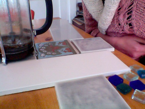 tiles and french press