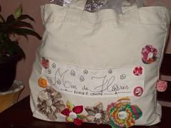 Minha sacola de produtos (Mar de flores) Tags: flowers flores fuxico yoyo fux sandália chinelo tecido croche fuxicos fuxicando crochetando fuxicaria fuxic