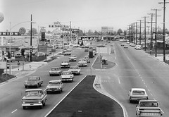 Harbor Blvd 1963 (arbyreed) Tags: california old blackandwhite bw film vintage 1960s orangecounty harborblvd oldcars sixties 1963 blackandwhitefilm 22freeway arbyreed