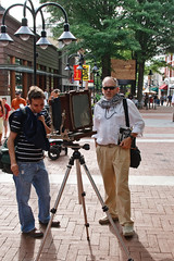 Large format view camera, on the Mall (bobtravis) Tags: virginia photographer sigma charlottesville viewcamera downtownmall eos400d look3