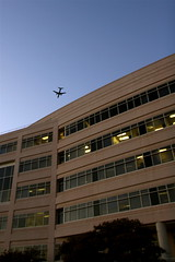 Leaving on... (matma92ser) Tags: sky building architecture plane airplane jet bluehour airliner