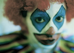 Face Paint (Alyssa L. Miller) Tags: portrait people blur color eye film 35mm scary nikon paint clown emo grain dream slide scan identity manual mad fm10 selectivefocus alyssalmiller