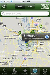 Whole Foods app map