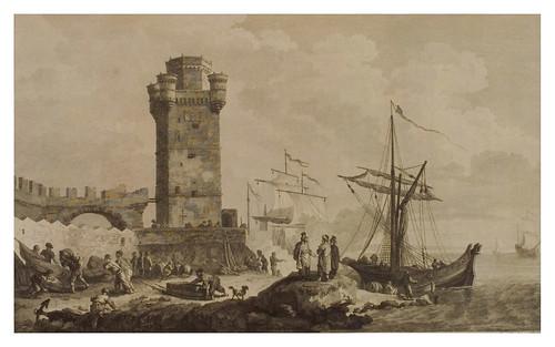009- Vista de la torre de San Nicolas en Rodas-Voyage pittoresque de la Grèce 1782