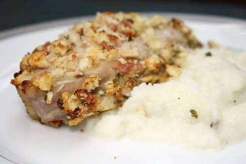 Bacon Crusted Pork Chops with Turnip Puree and Squash 2