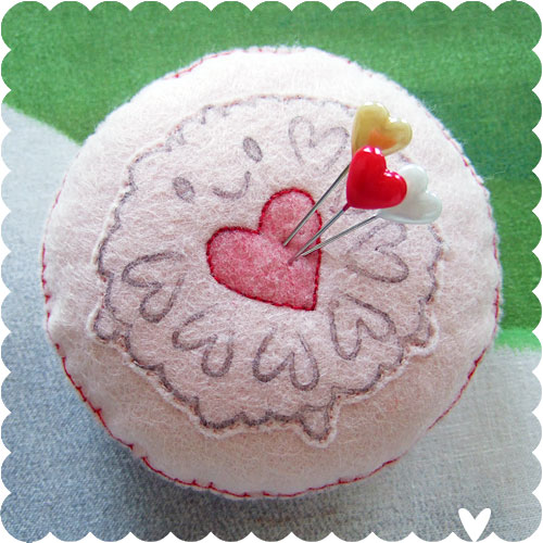 Jammie Dodger pincushion