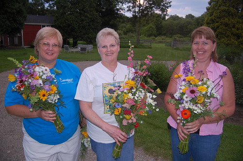 (From Left) Linda Read, Kathy Read, April Crone Show Off Bouquets from Little Big Farm