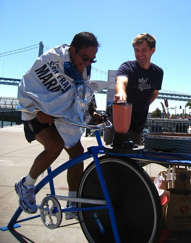 A steady stream of marathoners, including the first place women's finisher, wanted to pedal their own smoothies. by you.