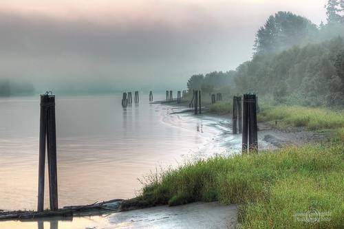 Sunrise fog on Fraser River