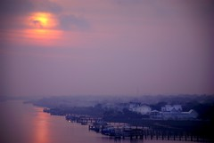 blue dawn (Will Montague) Tags: ocean wood morning sunset sea summer sun mist water pool fog clouds marina sunrise dawn coast boat dock sand nikon dusk tide southcarolina coastal barrier saltwater shoal montague lowcountry morgancreek explored d80 willmontague