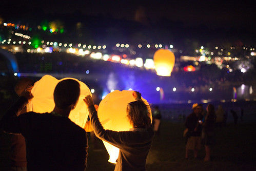 sky lanterns at the big chill