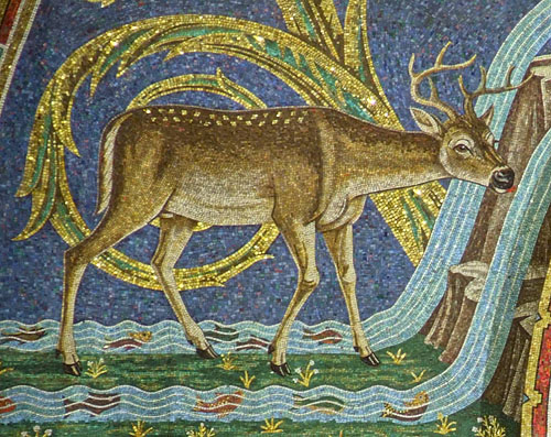 Cathedral Basilica of Saint Louis (the New Cathedral), in Saint Louis, Missouri, USA - mosaic detail of deer