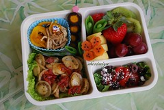 Pesto and Semi-dried Tomatoes Pasta Bento (sherimiya ) Tags: school fruit lunch salad kid healthy tomatoes olive pasta homemade peppers bento sweetpotato obento enoki firstgrader sherimiya