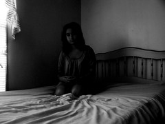 (names across the sea) Tags: portrait blackandwhite bw selfportrait girl bed poem texas abby blank stare teenager pippen delrio