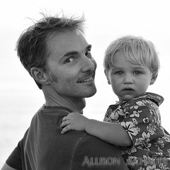 Boys at the Beach (Allison Achauer) Tags: boy portrait sky blackandwhite bw baby man holding toddler child adult uncle young double whitebackground nephew isolated carrying