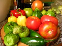 bounty (starrwitness) Tags: vegetables farmersmarket onion zucchini jalapeno tomatillo yellowbellpepper heirloomtomato redbellpepper greentomato