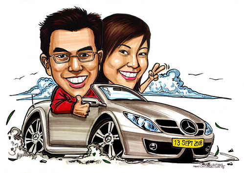 Couple caricatures on Mercedes SLK