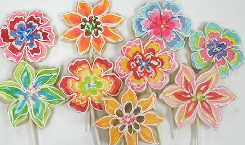[Image from Flickr]:Painted Flower Cookies