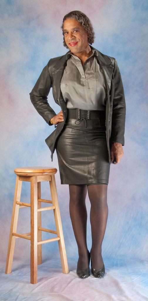 Leather skirt transvestite