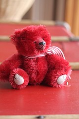 Lisette (Marion Klein) Tags: bear red baby scarlet klein artist hand teddy ooak bears acid marion mohair attic dyed jointed cotterpin pepperpyne marionbearmaker