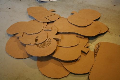 Pile 'o cardboard pumpkins