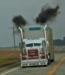 Hot Rod Pete (One Girl Trucking) Tags: driving things doing be while peterbilt shouldnt largecar i cowtruck smokeem bullrack hotrodpete
