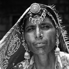 Rajasthani woman with tinsel trim. (ndnbrunei) Tags: travel blackandwhite bw 120 6x6 tlr film rollei rolleiflex mediumformat square kodak bn mf xenar rolleicord classicblackwhite autaut rolleigallery ndnbrunei