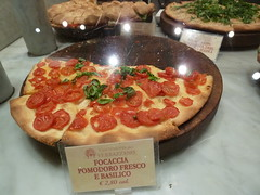 Focaccia with fresh tomato and basil