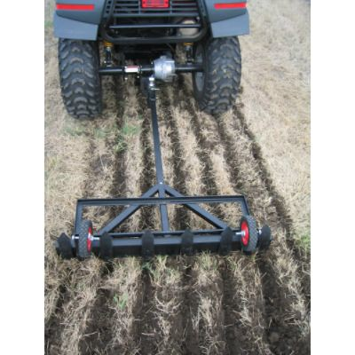 Great for gardens, food plots and more, farmers can use this tough and rugged pull behind rake and tiller for tough field plowing jobs.