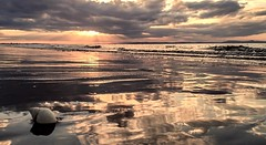 Reflecting...xx (shona.2) Tags: shell scotland iphone6 northsea moody sky clouds colours waves sea water sand reflections beach sunrays sunset seascape