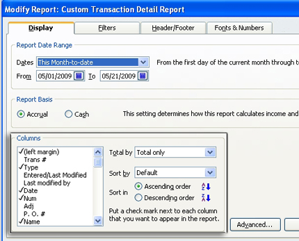 Custom Report Format