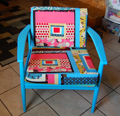 "The ""it only took a year"" chair (GoingSewCrazy) Tags: county blue yard diy chair sale sewing craft fair sew schmidt crafty recovered denyse repainted"