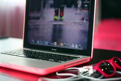 (✧S) Tags: pink black bedroom neon ipod desk room shades cover hotpink macbook