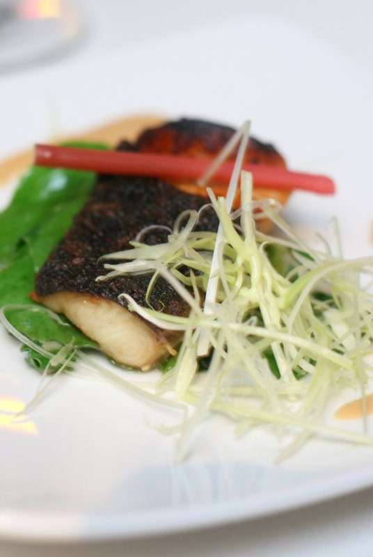 Miso Marinated Black Cod with Braised Baby Kailan and Sesame Dressing