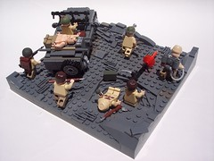 Iwo Jima: Moving Up! (Andrew F.) Tags: marine gun lego jeep machine medic iwo jima brickarms